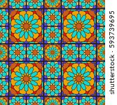 arabic ornamental geometric... | Shutterstock .eps vector #593739695