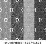 set of seamless floral pattern... | Shutterstock .eps vector #593741615