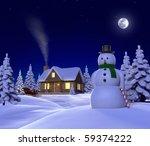 a christmas themed snow  scene... | Shutterstock . vector #59374222