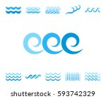 blue sea wave icons or water... | Shutterstock .eps vector #593742329