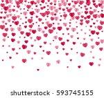 confetti hearts on white.... | Shutterstock . vector #593745155