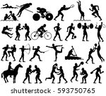 silhouettes of olympic summer... | Shutterstock .eps vector #593750765