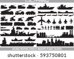 military equipment. set vector... | Shutterstock .eps vector #593750801