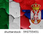 flags of italy and serbia... | Shutterstock . vector #593755451