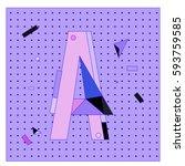 vector letter a memphis style... | Shutterstock .eps vector #593759585