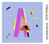 vector letter a memphis style... | Shutterstock .eps vector #593759861