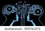 the future of technology. cyber ... | Shutterstock .eps vector #593761571