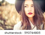 outdoor fashion photo of young... | Shutterstock . vector #593764805