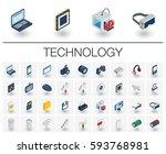 isometric flat icon set. 3d... | Shutterstock .eps vector #593768981