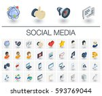 isometric flat icon set. 3d... | Shutterstock .eps vector #593769044