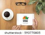 credit score  businessman... | Shutterstock . vector #593770805