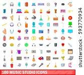 100 music studio icons set in... | Shutterstock .eps vector #593770934