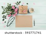 pink roses with blank sheet... | Shutterstock . vector #593771741