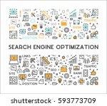 line web concept for seo.... | Shutterstock . vector #593773709