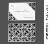 silver business card with... | Shutterstock .eps vector #593773871