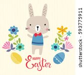 vector happy easter template... | Shutterstock .eps vector #593775911