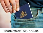 australian passport in mans... | Shutterstock . vector #593778005
