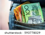 australian cash money in mans... | Shutterstock . vector #593778029