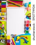 white canvas on a drawing table ... | Shutterstock . vector #593779934