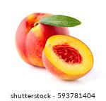 Nectarine With Leaf In Closeup