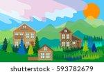 alpine landscape with log homes.... | Shutterstock .eps vector #593782679