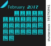 february 2017 calendar   Shutterstock .eps vector #593793941
