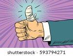 bandaged finger up  like... | Shutterstock .eps vector #593794271
