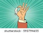 ok gesture bandaged finger. pop ... | Shutterstock .eps vector #593794655