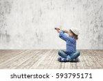 little sailor in studio | Shutterstock . vector #593795171