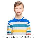 close up emotional portrait of...   Shutterstock . vector #593805545
