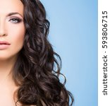 portrait of beautiful brunette... | Shutterstock . vector #593806715