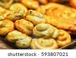 close up of freshly baked... | Shutterstock . vector #593807021