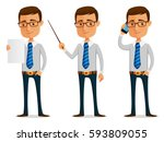 funny cartoon businessman... | Shutterstock .eps vector #593809055