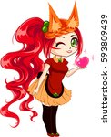 cute cartoon girl with red hair ... | Shutterstock .eps vector #593809439