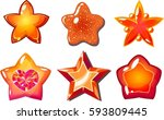 cartoon star icons set  glow... | Shutterstock . vector #593809445