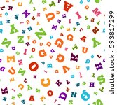 colorful letter pattern on... | Shutterstock .eps vector #593817299