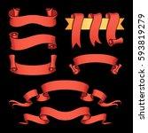 vector ribbon set. celebration... | Shutterstock .eps vector #593819279