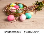 easter composition of the... | Shutterstock . vector #593820044