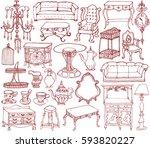 vintage furniture and... | Shutterstock .eps vector #593820227