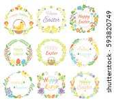 happy easter hand drawn badge... | Shutterstock .eps vector #593820749