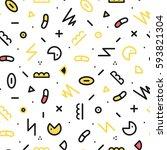 memphis pattern seamless... | Shutterstock .eps vector #593821304