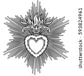 sacred heart of jesus with rays.... | Shutterstock .eps vector #593824961
