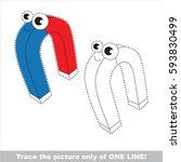 funny beautiful red and blue... | Shutterstock .eps vector #593830499