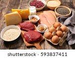 protein food | Shutterstock . vector #593837411