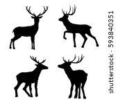 deer silhouette   vector... | Shutterstock .eps vector #593840351