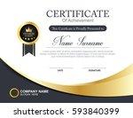 vector certificate template | Shutterstock .eps vector #593840399