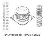 line style sandwich spread out... | Shutterstock .eps vector #593841521