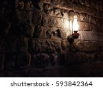 Dark Ancient Tunnel With Lamp...