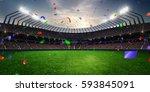 stadium sunset confetti and... | Shutterstock . vector #593845091