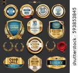 golden badges and labels with... | Shutterstock .eps vector #593853845